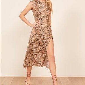 Reformation Snake print midi dress XL tencel